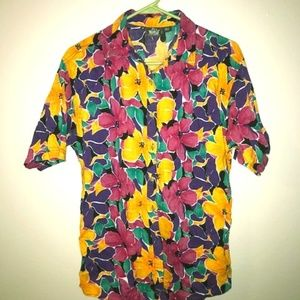 Woolrich for Women, Vintage 90s Floral Button-up T